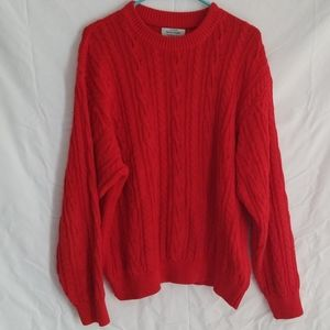Red oversized knit sweater